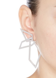 W.Britt 'Interlocking Angle' silver angular hoop earrings