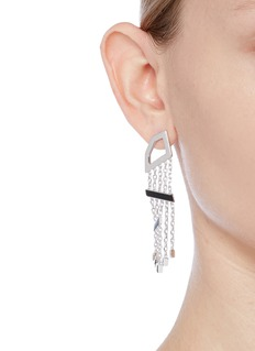 W.Britt 'Angle Dangle' onyx silver drop earrings