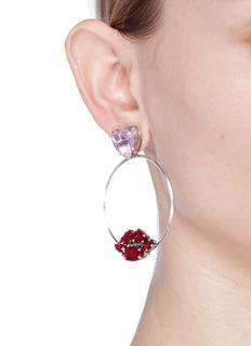 Anton HeunisCrystal heart and lips detachable hoop earrings