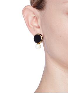 Anton HeunisSwarovski pearl disc earrings