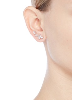 CZ by Kenneth Jay Lane Cubic zirconia link climber earrings