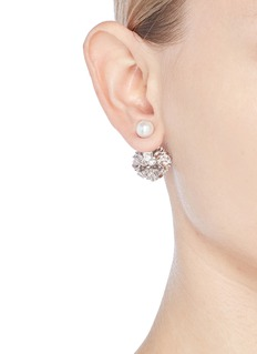 CZ by Kenneth Jay Lane Cubic zirconia glass pearl floral earrings