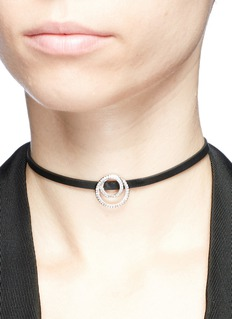CZ by Kenneth Jay Lane Cubic zirconia interlocking circle charm faux leather choker