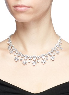 CZ by Kenneth Jay Lane Cubic zirconia floral fringe necklace