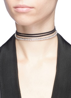 CZ by Kenneth Jay Lane Cubic zirconia link suede choker