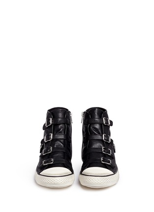 Front View - Click To Enlarge - Ash - 'Virgin' buckle leather high top sneakers