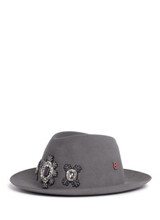My Bob 'Tribecca' jewelled appliqué rabbit furfelt fedora hat