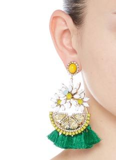 Elizabeth Cole'Lemondrops' Swarovski crystal tassel earrings