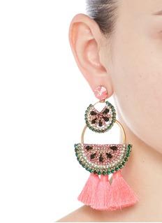 Elizabeth Cole'Watermelon Chandeliers' Swarovski crystal tassel drop earrings