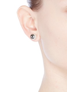 Joomi Lim 'Monochrome Chic' floral Swarovski pearl stud earrings