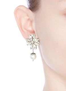Joomi Lim 'Monochrome Chic' floral Swarovski crystal and pearl earrings