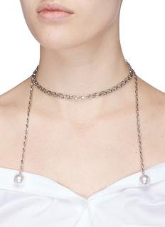 Joomi LimSwarovski pearl chain lariat necklace