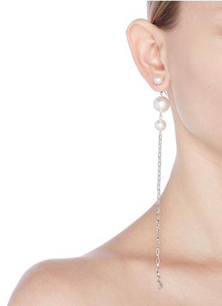 Figure View - Click To Enlarge - Joomi Lim - Swarovski pearl chain drop earrings
