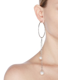 Joomi Lim Asymmetric detachable Swarovski pearl chain drop hoop earrings