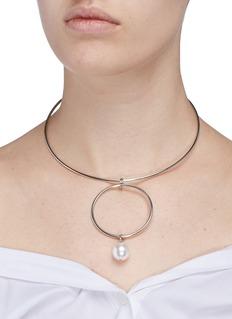 Joomi LimSwarovski pearl hoop wire choker