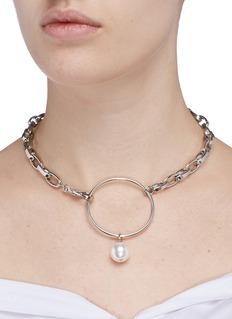 Joomi LimSwarovski pearl hoop chunky chain choker
