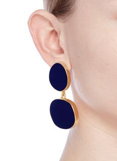 Kenneth Jay LaneIrregular enamel oval tiered drop clip earrings