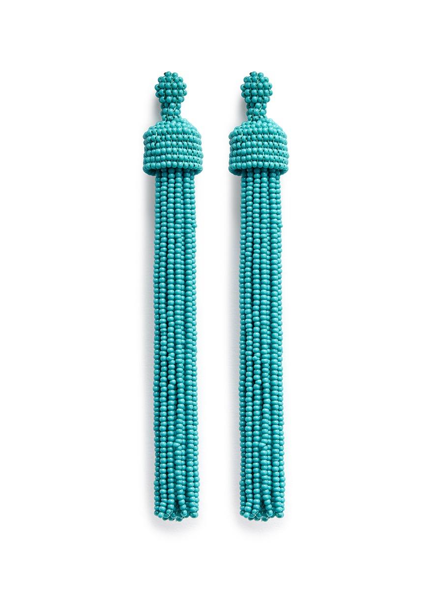kenneth jay lane female beaded tassel drop earrings