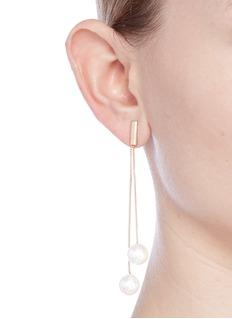 Kenneth Jay LaneBox chain glass pearl drop earrings