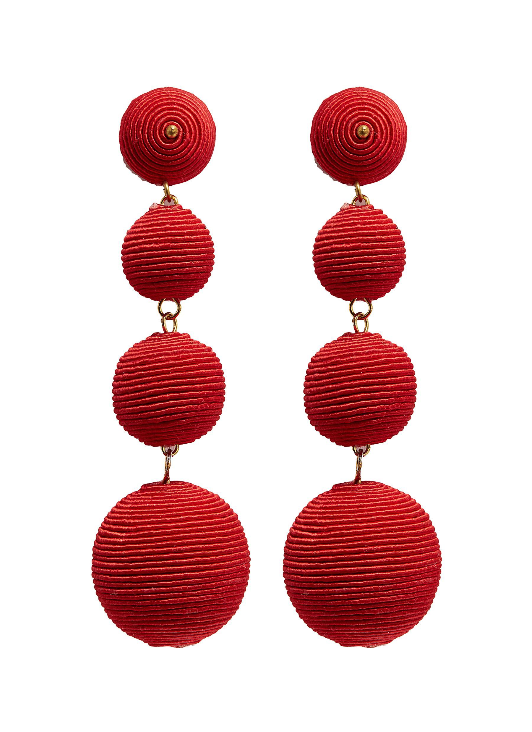 kenneth jay lane female carnival threaded sphere drop earrings