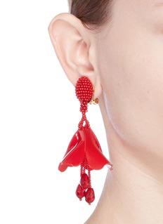 Oscar de la Renta 'Mini Impatiens' petal glass crystal drop clip earrings