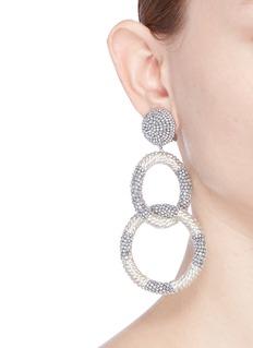 Oscar de la Renta Metallic beaded interlocking hoops clip earrings