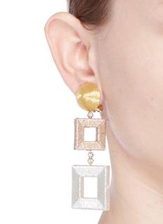 Oscar de la Renta Metallic geometric clip earrings