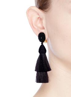 Oscar de la Renta Beaded horse hair tassel clip earrings