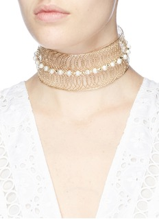 Rosantica 'Big Bang' faux pearl metal wire cuff choker