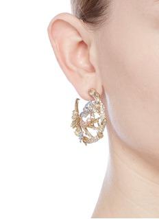 Anabela Chan 'English Garden' diamond gemstone 18k gold vermeil hoop earrings