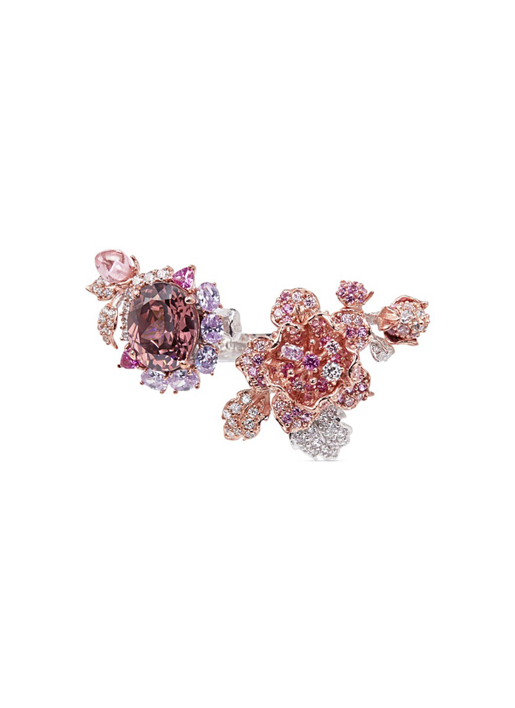 anabela chan female delphinium diamond gemstone 18k gold floral open ring