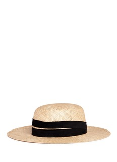 Janessa Leone 'Six' suede band straw boater hat