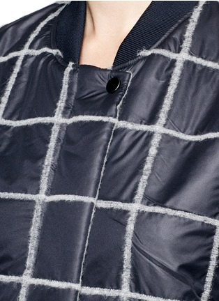 Detail View - Click To Enlarge - Comme Moi - Wool grid windbreaker bomber jacket