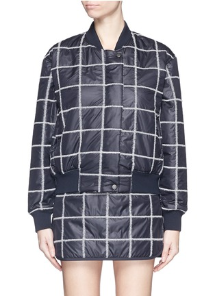 Main View - Click To Enlarge - Comme Moi - Wool grid windbreaker bomber jacket