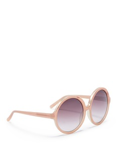 NO.21 Metal brow acetate oversized round sunglasses