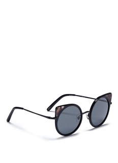 Matthew Williamson Colourblock tortoiseshell acetate rims metal cat eye sunglasses
