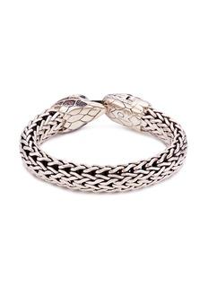 John Hardy Sapphire quartz chalcedony silver eagle woven chain bracelet
