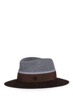 Maison Michel 'André' colourblock rabbit furfelt trilby hat