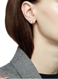 Maria Tash 'Baguette' diamond rose gold single threaded stud earring