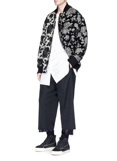 Song for the Mute Patchwork floral jacquard bomber jacket