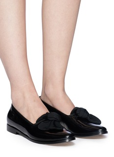 Mansur Gavriel Grosgrain bow leather flats