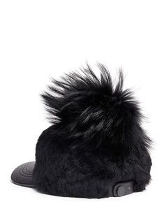 KARL DONOGHUE 'Cashmere Touch' fur pompom lambskin shearling baseball cap