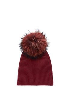 KARL DONOGHUE Raccoon fur pompom cashmere beanie