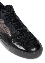 Tweed leather low top sneakers
