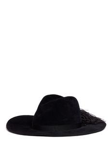Gigi Burris Millinery 'Jeanne' ostrich feather wide brim felt fedora hat