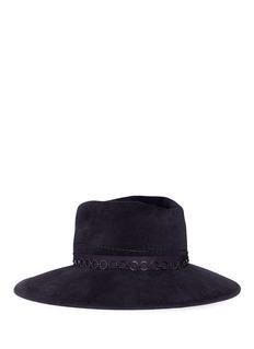 Gigi Burris Millinery Drake' ring chain asymmetric crown felt fedora hat