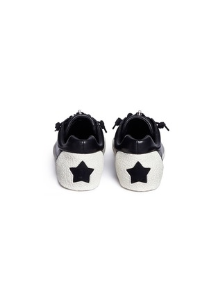 Back View - Click To Enlarge - Ash - 'Nirvana' cutout star patch leather zip sneakers
