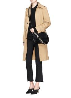 Stuart Weitzman 'Lola Pearl' embellished strap suede crossbody bag