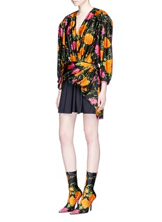 BalenciagaCarnation print uplifted jersey dress