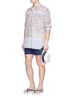 Vilebrequin'Moorea' flamingo embroidered swim shorts